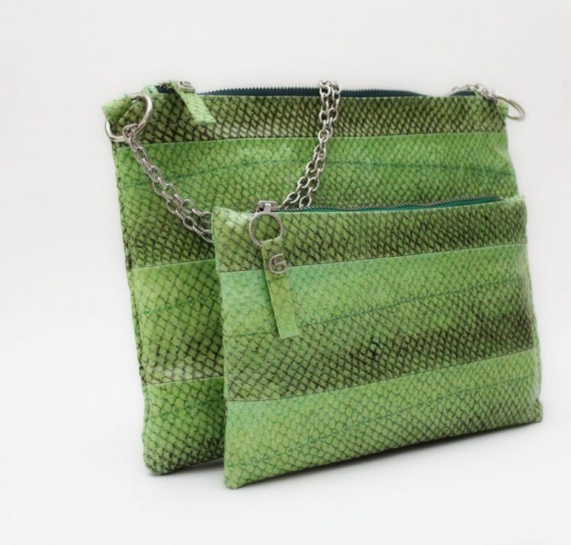 Lachsledertasche im stylischen hellgrün