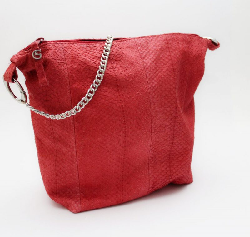 Lachs Leder Schultertasche in attraktivem Rot
